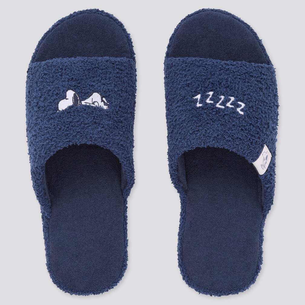 uniqlo singapore peanuts snoopy home slippers navy