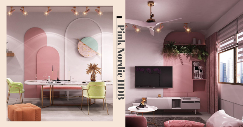 This Luxe Pink Nordic-Themed 5-Room HDB Flat At Tampines Is A Dream Come True