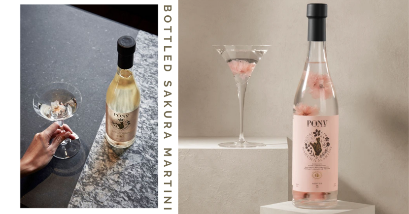 Bottled Sakura Martini With Floating Flower Petals Now In Singapore, Mini Version Also Available