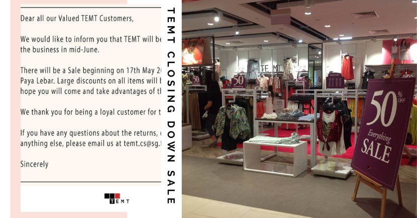 TEMT Singapore Is Having A Closing Down Sale With Large Discounts