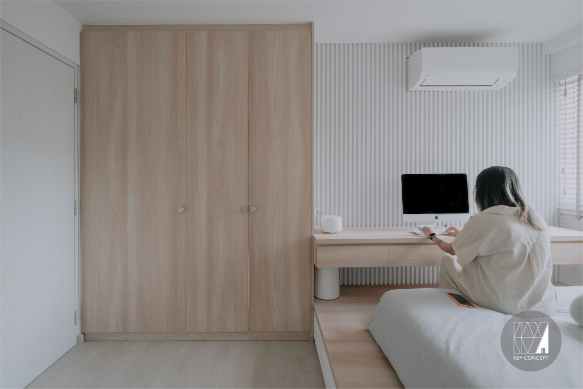 bedroom with desk muji style hdb flat in singapore