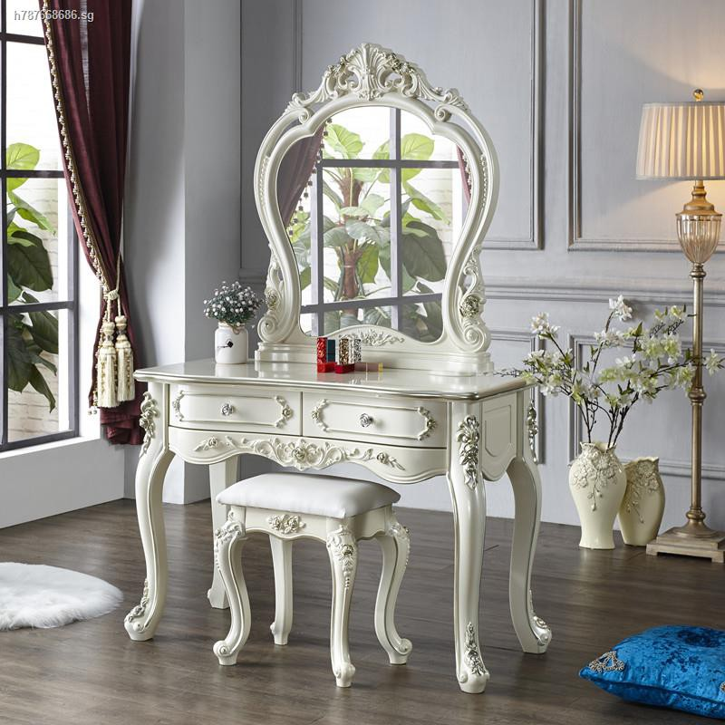 white ornate Victorian-Style Dressing Table with stool