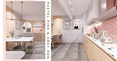 5-Room BTO With Pastel Pink, Grey, & Marble Accents Coupled With Light Wood Looks Like A Chic Cafe