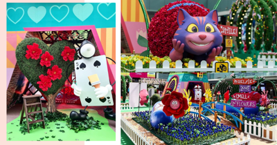 Pop-Up Alice In Wonderland Installation In Singapore Has Giant Cheshire Cat, White Rabbit, 'Eat Me' Cookie