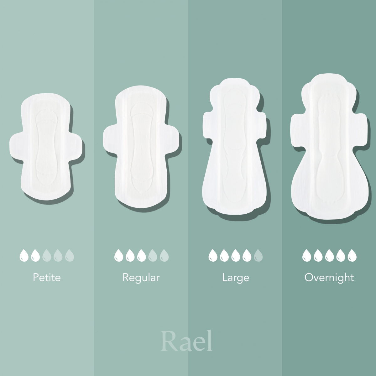 Rael sanitary pads in different sizes