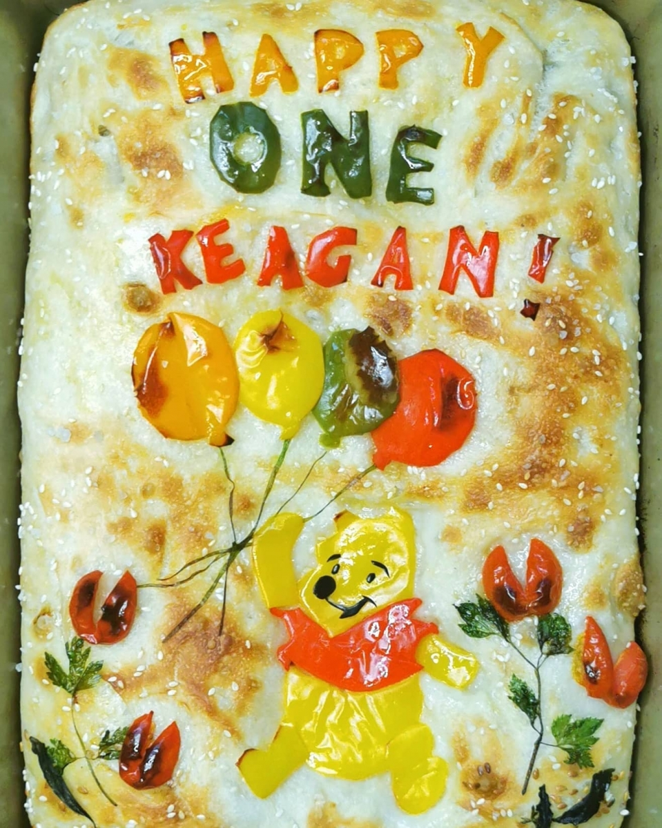 winnie the pooh focaccia breat art singapore when mommy bakes