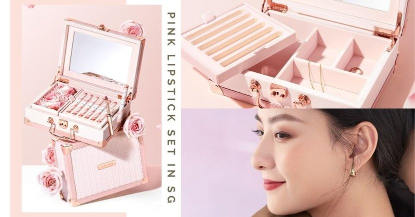 Limited Edition Lipstick Set Comes In A Pretty Pink Jewellery Box With Preserved Flowers, Get It In Singapore