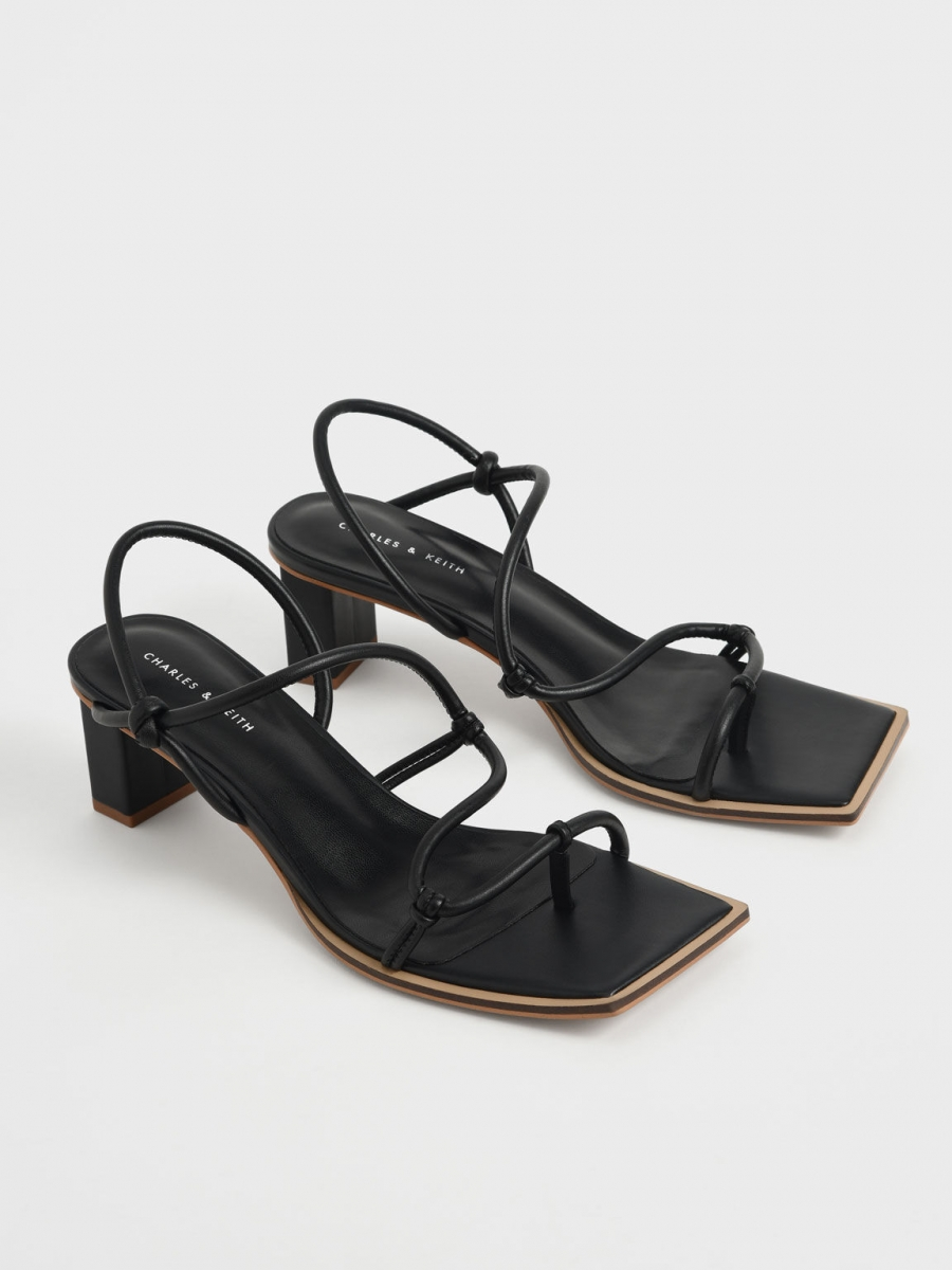 charles and keith singapore Strappy Toe-Loop Heeled Sandals in black