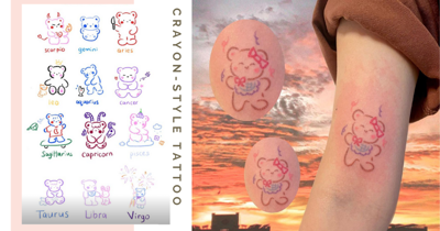 Local Tattoo Artist Hand Pokes Adorable Crayon-Style Bear Designs According To Different Horoscopes