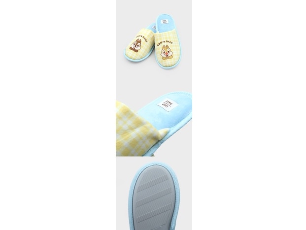 Daiso Korea x Chip 'n' Dale bedroom slippers collection featuring the slippers in soft yellow