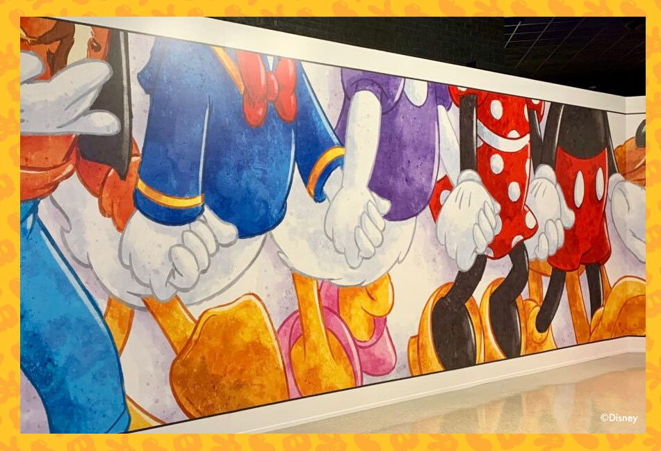 mickey and friends gallery wall at disney pop up exhibition suntec convention centre singapore