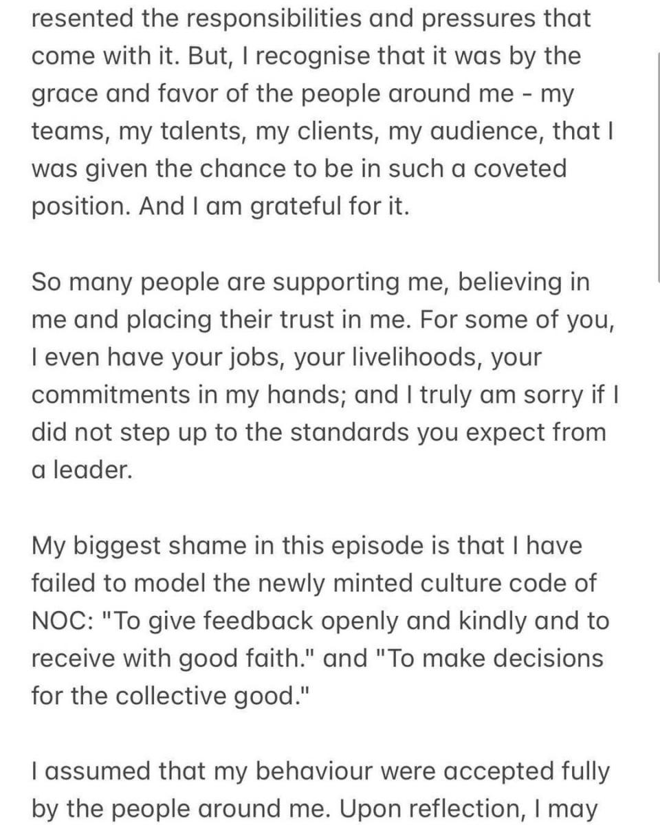 NOC Sylvia's apology
